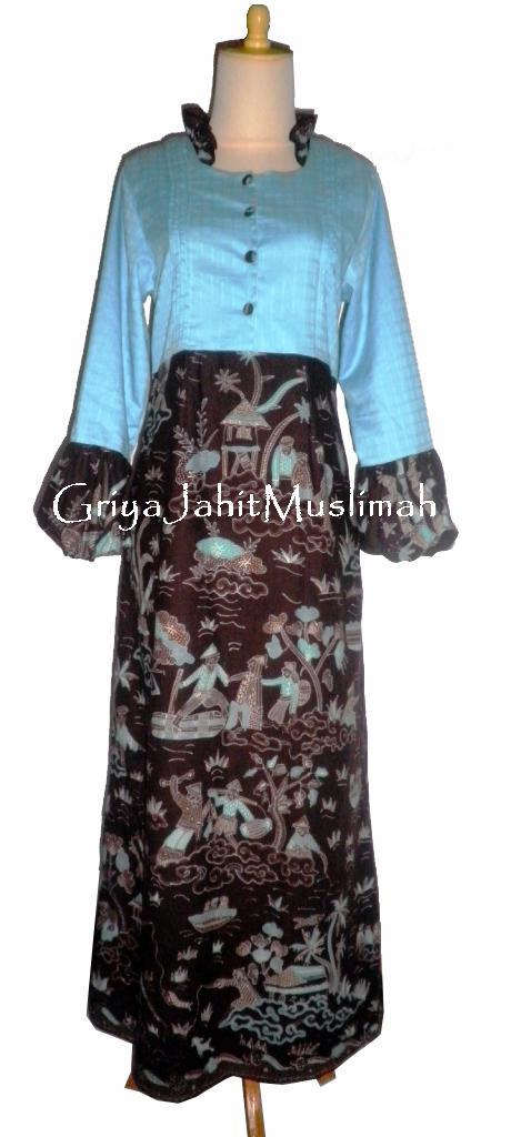 Griya jahit muslimah gamis ordered by nadia jg Baju gamis batik hijau tosca