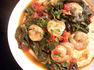 The fearless cook how to wine and dine daringly shrimp for Creamy polenta with mushrooms and collards