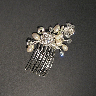 pearl and rhinestone hair comb wedding accessory laurastaley.etsy.com
