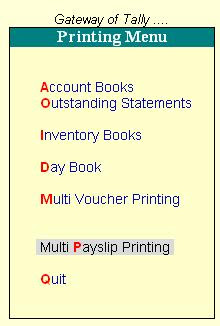 Multi Account Printing Menu