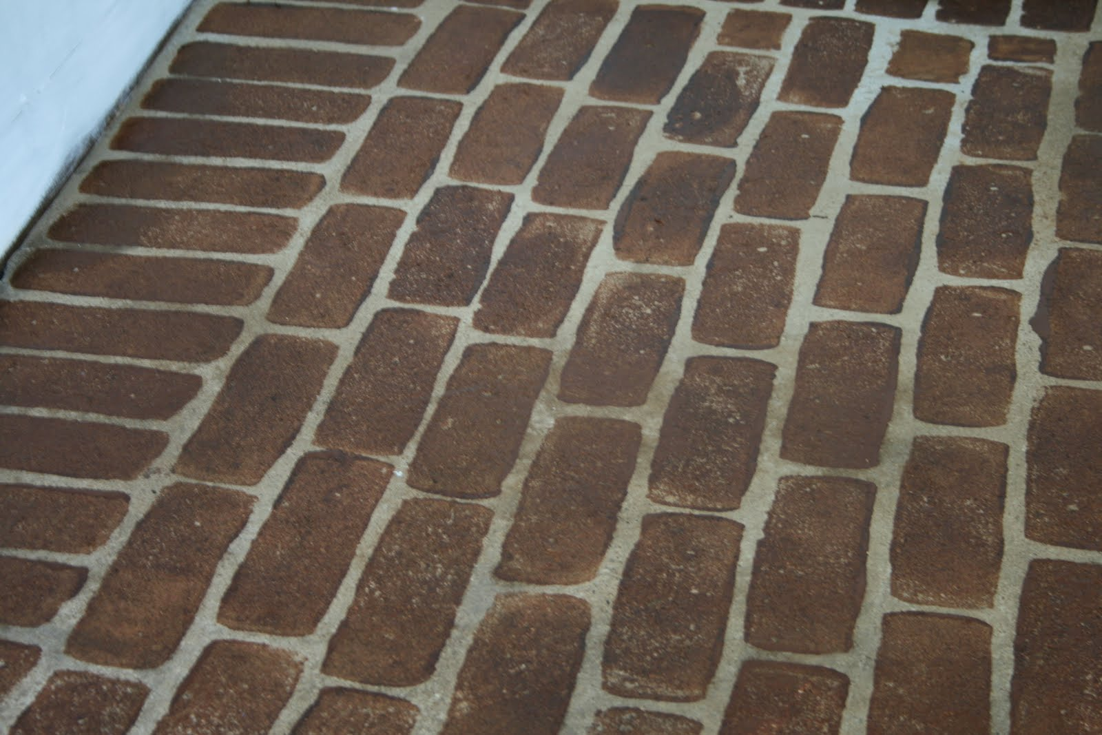 Faux brick flooring flooring designs the virginia house faux stained brick floor tutorial dailygadgetfo Image collections