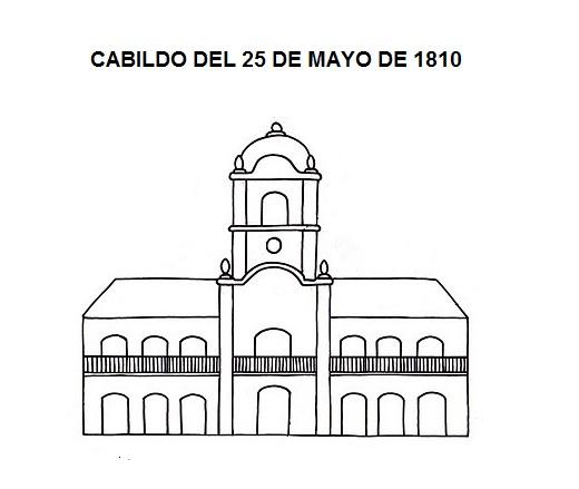 Dibujo del cabildo de 1810, para colorear o pintar. | RECREAR ...