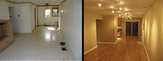 Heres A Before And After Of Living Room That I Remodeled Filled The Openings Duct Work With Concrete Installed New In Attic