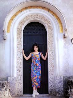 Vivian at the door of Villa San Michele