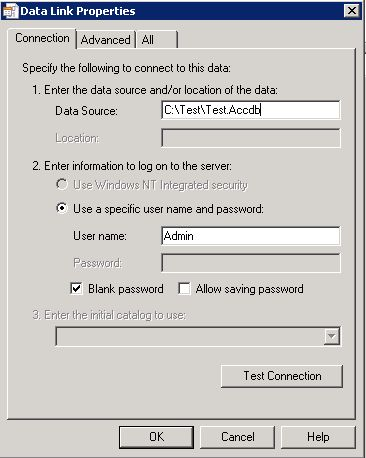 how to connect access 2010 to sql database