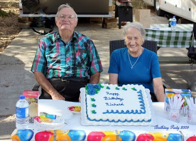 Photo of Richard and Mary at his 90th birthday party.