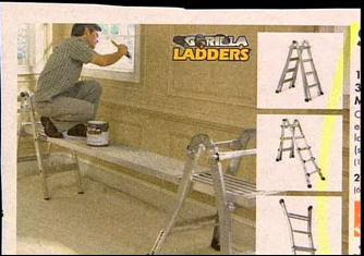 funny ad photos of man on ladder painting but no need for ladder