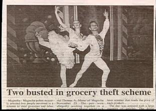 funny news headline about two people in grocery theft with picture of ballet dancers