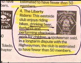 funny news story about liberty riders drinking fighting and doing charity work photo