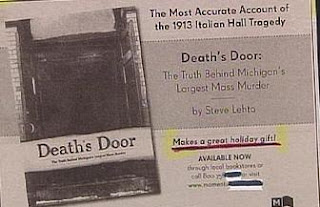funny ad for book on deaths door about michigan mass murder perfect holiday gift photo