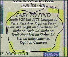 funny ad giving directions that say easy to find but really difficult need a map pic