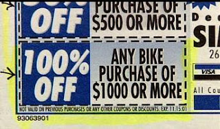 funny stupid news free bike ad when spending over one thousand dollars at store