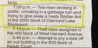funny police story about crooks disturbing peace and trying to give away nasty barbie doll