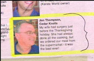 funny real people comments about thanksgiving food bought from supermarket being better than wifes cooking jon thompson in the bad books