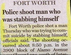 really funny news headline polic story about cops shooting a man who was going to commit suicide with a knife