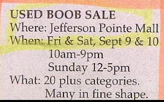 funny stupid news used boob sale at jefferson pointe mall many in fine shape