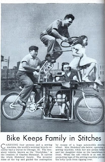 funny 1950's comedy headline bike keeps family in stiches