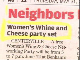 funny newspaper headline women's whine and cheese party set written by male