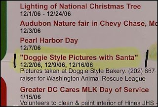 weird crazy ad for doggie style pictures to be taken with santa very odd humor