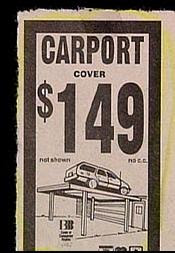 really funny ad for carport cover bad illustration with car on top no purpose