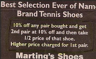 funny ad for tennis shoes discount at martings