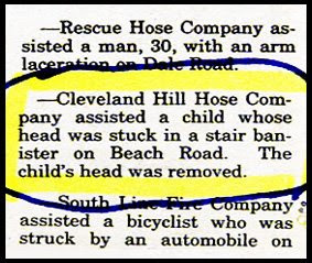 funny story about childs head removed from stuck stairs bannister