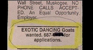 funny classified ad for exotic dancing goats