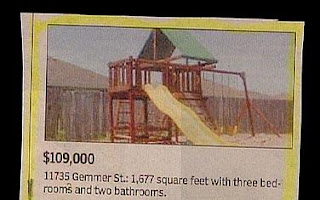 funny real estate ad for play house cubby for 109,000 with 3 bedrooms and 2 bathrooms