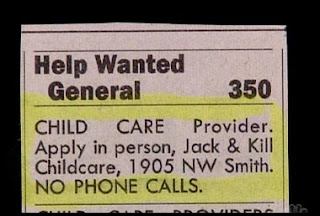 funny job advert for jack and kill child care