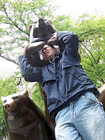 Neil fends off a Central Park bear.