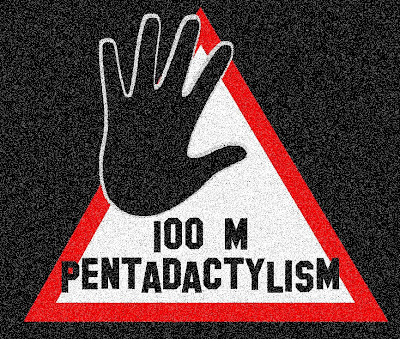 warning pentadactylism 100 meters