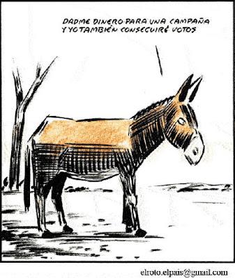 Dadme dinero para una campaña y yo también conseguiré votos. El Roto. El País, 23/11/2010
