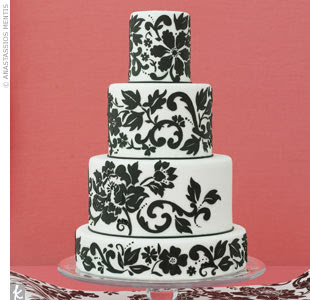 white and black wedding cakes
