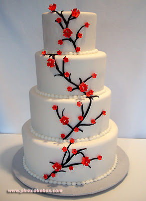 red cherry blossoms wedding cake