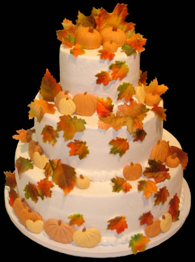 Wedding cakes autumn square round decorate wedding for Autumn cake decoration