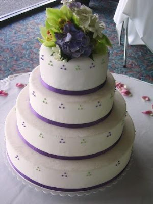 4 tier round wedding cakes dots