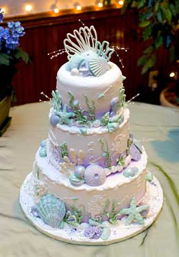 shell wedding cake