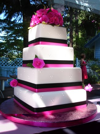 Square Wedding Cakes With Flowers on Top