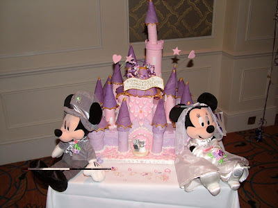 puple wedding cake with mickey mouse ideas
