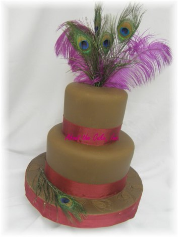 Peacock Wedding Cake With Ribbon