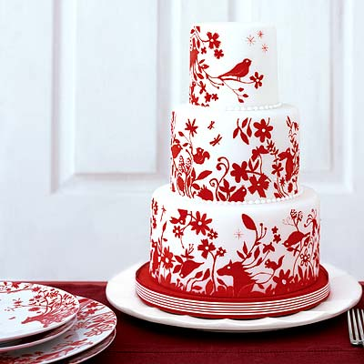 Red Colour Cake Images : Round Wedding Cakes With Red And White Color