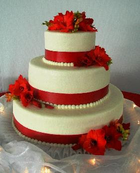 red cake with flower