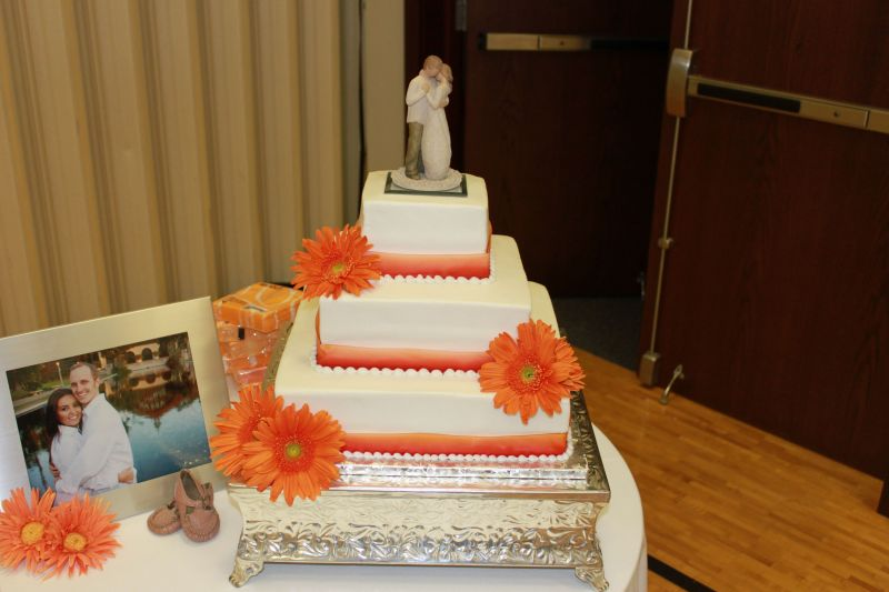 Orange Wedding Cakes With Orange Ribbon