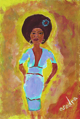 black woman, woman, beauty, afro, painting