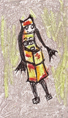 surreal, Judy, juke box, miniature painting, pocket painting, character art, oil pastels, pen