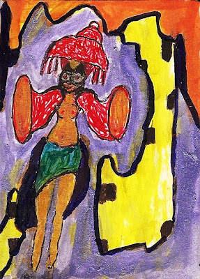 ACEO original, acrylic ink painting, carnival, carnavale, reveler, woman