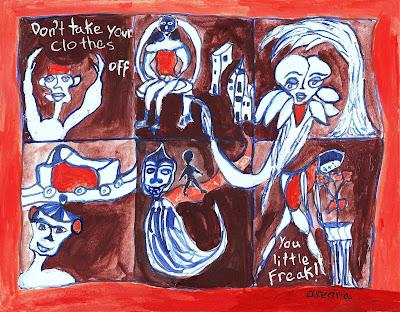 surreal comic strip, orange, blue, painting