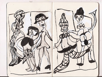 sketch, sketches, artistic process, moleskine, drawing, painting, the winners, carnival, carnivalesque