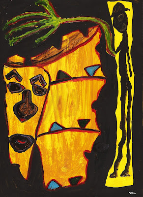 art, painting, painting on paper, drawing, African, Caribbean, African-American art, surreal,