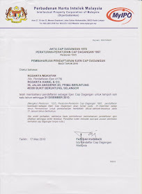 Rozarita Mokhtar&#39;s Trade Mark Agent  License Certificate